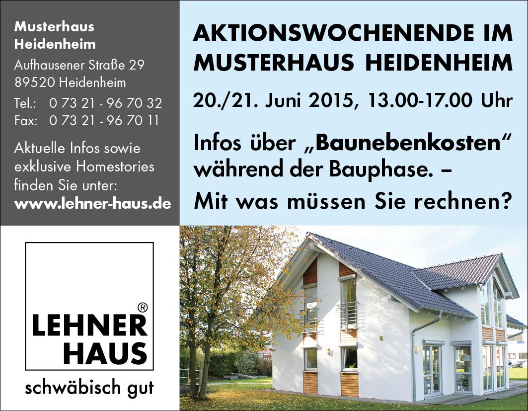 lehner haus fertighausblog blog archi baunebenkosten aktionswochenende im musterhaus heidenheim. Black Bedroom Furniture Sets. Home Design Ideas